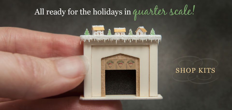 Quarter Scale fireplace and glitter house village kits